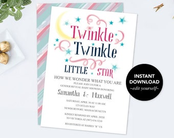 Twinkle Twinkle Little Star Baby Shower Invitation, Gender Reveal Party, Gender Reveal Ideas, Baby Shower Invitation, Boy Girl Baby Reveal