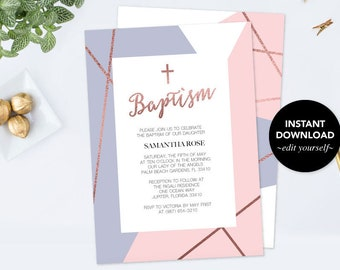Baptism Invitation Instant Download, Faux Rose Gold Baptism Invitation, Baptism Girl, Editable Template, Invitation Pink Purple customizable