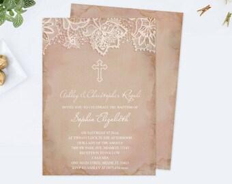 Girl Baptism Invitation, Baptism Invitation, Girl Baptism, DIY Invitations, Editable Template Baptism Invitation, Pink, Lace, Customizable