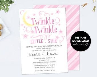 BABY SHOWER INVITATION Girl, Twinkle Twinkle Little Star, First Birthday, Pastel Pink Baby Shower Invitation, Girl Baby Reveal