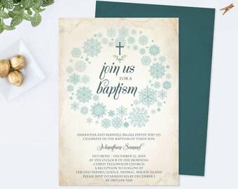 WINTER BAPTISM INVITATION Template pdf, Editable Template, Catholic Invite, Cross Invitation, Boy, diy Invites, Customizable, Party Invite,