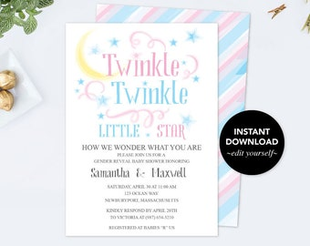Twinkle Twinkle Little Star Baby Shower Invitation, Gender Reveal Ideas, Baby Shower Invitation, Gender Reveal Party, Boy Girl Baby Reveal