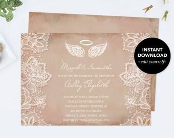 Angel Wings Invitation, Baptism Invitation, Baby Shower Invitation Girl, Pink Lace, First Communion, Christening, Halo, Heaven Sent, DIY