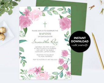 Girls Baptism Invitation, Floral Baptism Invitation, Baptism Girl, DIY Invite, Editable Template Invitation, Pink Watercolor Rose and Leaf