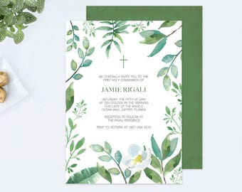 WINTER BAPTISM Greenery INVITATION, Customizable Text, Greenery First Communion, Boys First Communion Invites, Leaf Editable Template Invite