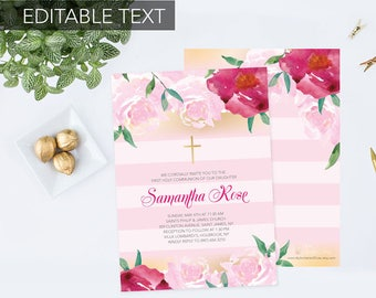 CUSTOMIZABLE TEXT Girls Holy First Communion Invite, Baptism Invitation, Girl Baptism, DIY Invitations, Editable Template Invite, Printable