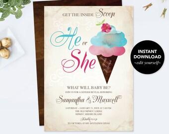 Ice Cream GENDER REVEAL INVITATION, Ice Cream, Gender Reveal Ideas, Gender Neutral Template Instant Download, pdf Digital, Baby Announcement