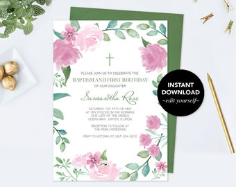 Baptism and Birthday Invitation, Floral Baptism Invitation Girl, Instant Download, First Birthday, 1st Birthday, Template Pink Roses, Leaf