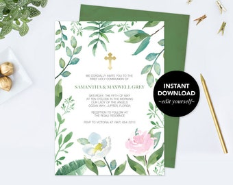 BAPTISM INVITATION, Greenery BAPTISM Invite, Greenery First Communion, Twin Invitation, Editable Template First Communion Invite, Baptism