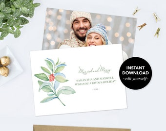 Instant Download Photo Christmas Card Printable, Personalized Custom Holiday Cards, Downloadable Template, Rustic, Elopement Printable PDF