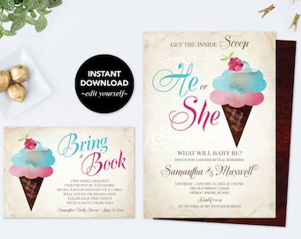 Baby Shower Bundle, Ice Cream GENDER REVEAL INVITATION, Gender Reveal Ideas, Instant Download, pdf Digital, Invitation, Book For Baby