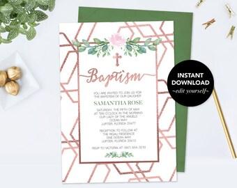 Baptism Invitation, Faux Rose Gold Baptism Invitation, Baptism Girl, Instant Download Editable Template, DIY Invitation, Pink Rose and Leaf