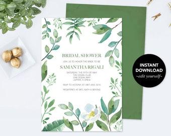 BRIDAL SHOWER INVITATION Greenery, Bridal Shower Editable, Wedding Shower Invitation Template pdf Printable Invitation, Instant Download