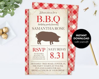 BIRTHDAY INVITATION, 30th Birthday, 30th Birthday for Him bbq, Bridal Shower Invitation, Printable, 50th Birthday Invitation, Family Reunion