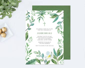 GREENERY BAPTISM INVITATION, Greenery First Communion, Boys First Communion, diy Invitations, Editable Template First Communion Invite, Leaf