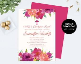Girl's First Holy Communion Invite, Communion Invitation, Girl Communion, DIY Invitations, Editable Template Invitation, First Communion