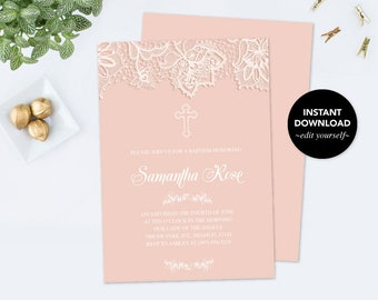 Girl First Communion Invitation, First Communion, Girl First Communion, DIY Invitations, Editable Template First Communion Invitation, Pink