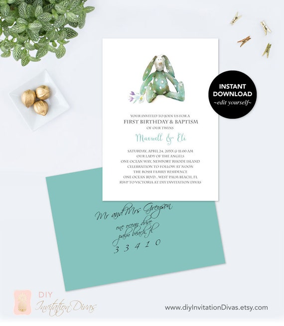 Downloadable Pdf Invitation Template Bunny Birthday And Baptism
