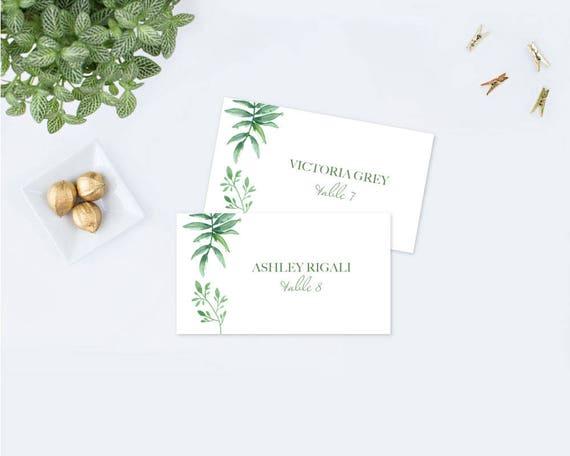 Editable Text Greenery Place Card Template Wedding Escort
