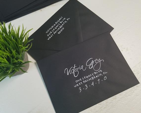 Envelope Addressing Black A7 Envelopes Wedding Envelope Etsy