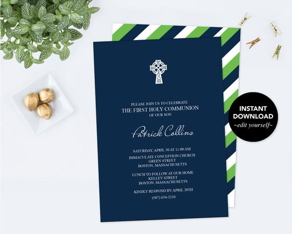 Boy First Communion Invitation Baptism Invite Pdf Invite Template