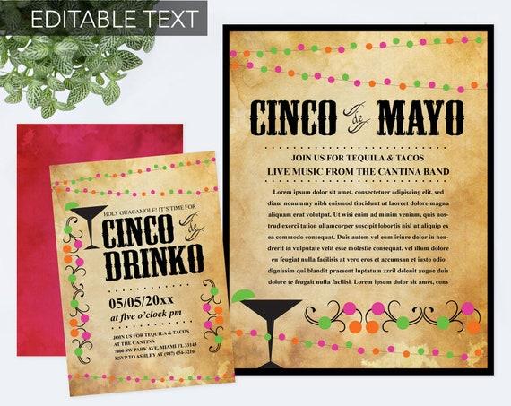 instant download cinco de mayo invite with free flyer fiesta