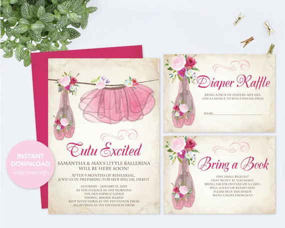 Baby Shower Invitation Girl Invitation Template Set Diaper Raffle