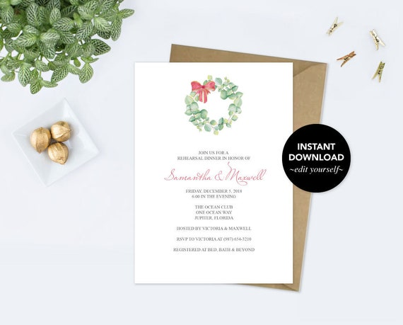 REHEARSAL DINNER INVITATION Dinner Party Invite Template Pdf