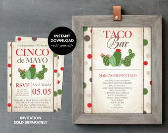 CACTUS PARTY DECORATIONS, Taco Bar Sign, Printable Cinco de Mayo, Printable Birthday Party Decorations, Bachelorette Party, Graduation Party