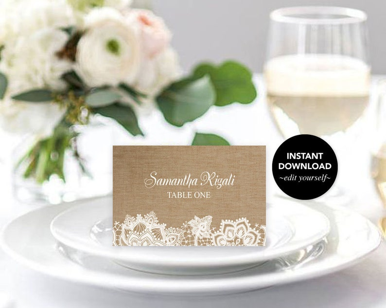 Bridal Shower Decor Editable Burlap Place Card Template Escort Cards Printable Tented Table Setting Card Lace Diy Shower Decorations