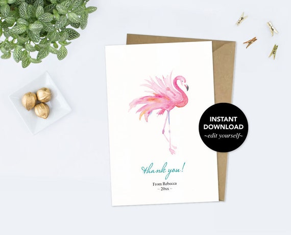 graphic regarding Printable Flamingo Template titled Thank By yourself Card Template, Fast Down load, Watercolor