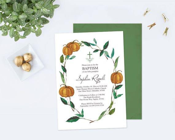 fall pumpkin baptism invite template baptism invitation