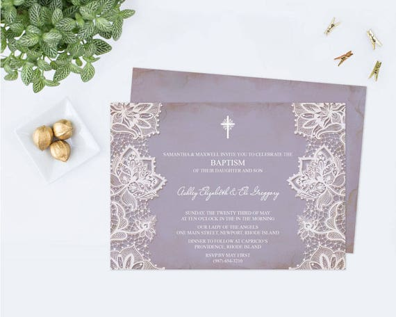 editable twins baptism invitation first communion purple etsy