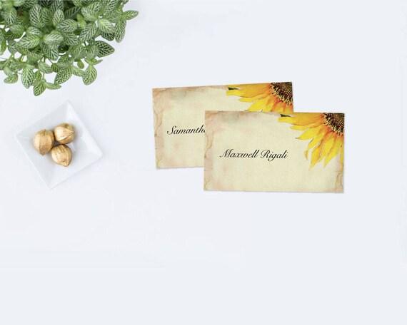 Editable Sunflower Place Card Template Sunflower Wedding Escort