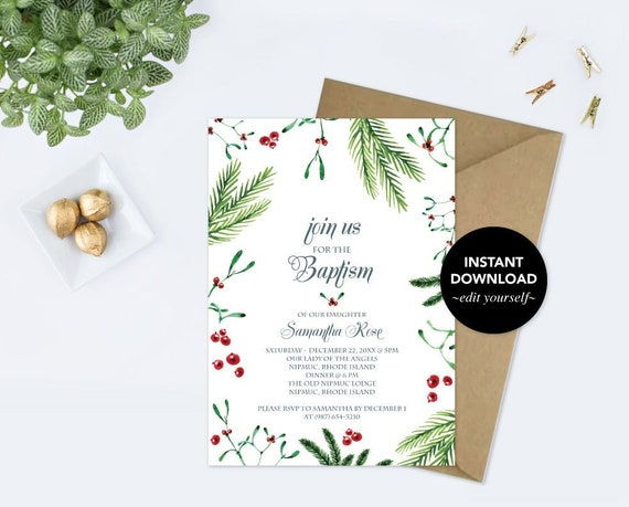 christmas winter baptism greenery invitation greenery invite