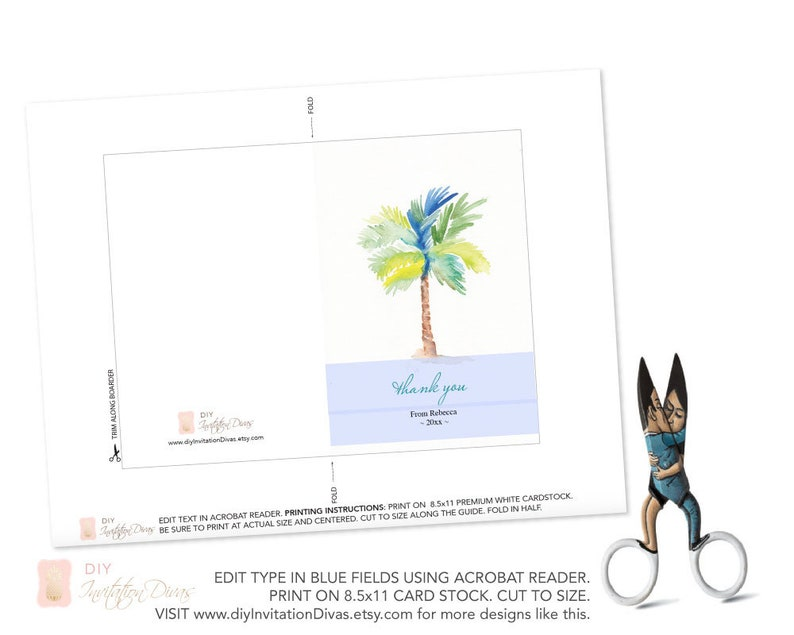 Thank You Template Card Downloadable DIY Instant Download Custom Watercolor Palm Tree Cards Wedding Thank Yous Printable Thank You Note