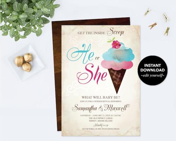 ice cream gender reveal invitation ice cream gender reveal ideas