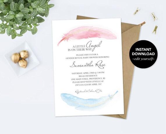 baby shower invitation heaven sent pdf invite downloadable