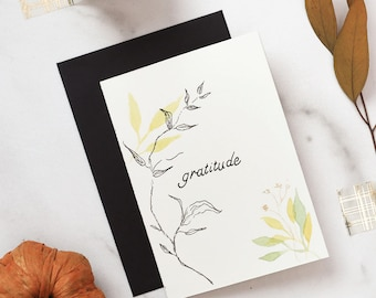 Fall Foliage Thanksgiving Handmade Card, Original Watercolor Leaves, One of a Kind Greeting Card, 4x6 Inspirational Quote, Notecard