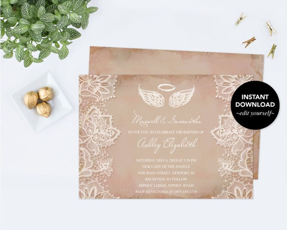 angel wings invitation baptism invitation baby shower etsy