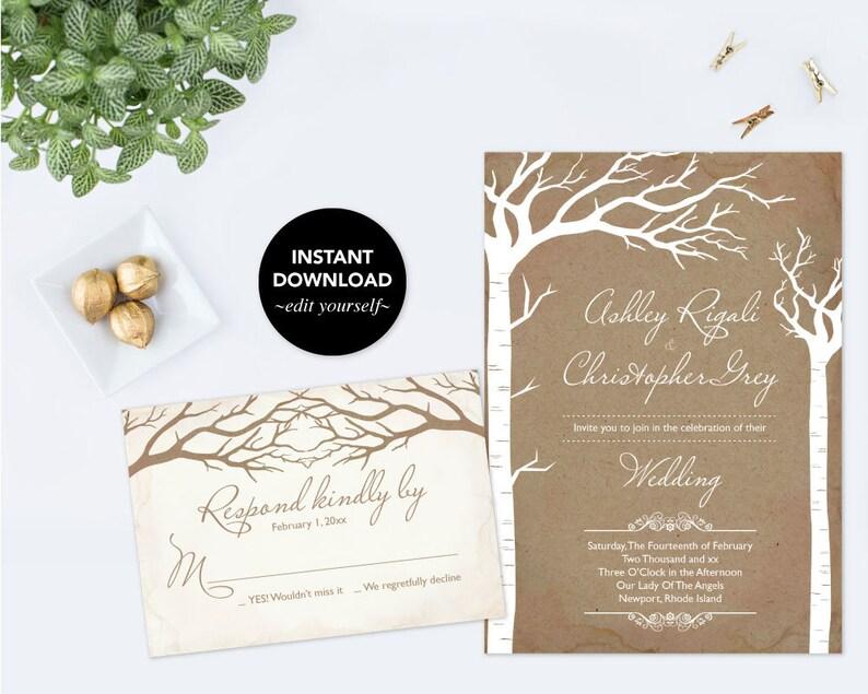 Wedding Invitation Template Download Rustic Invite Instant Printable