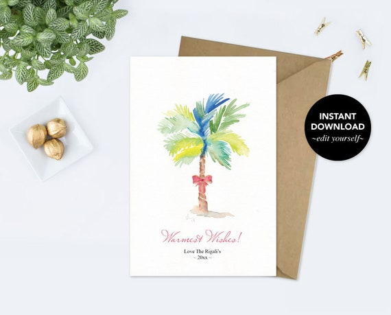 Holiday Card Editable Text Printable Template Watercolor Palm
