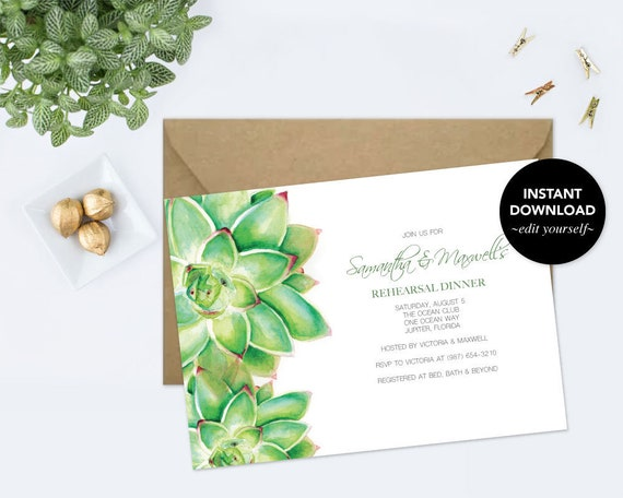 REHEARSAL DINNER INVITATION Dinner Party Invite Template Pdf Succulent Watercolor Instant Download Wedding Rehearsal