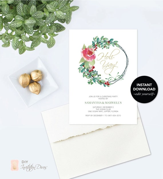Downloadable DECEMBER PARTY INVITATION Instant Download Template