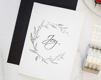 Hand Painted Watercolor CHRISTMAS CARDS, Wreath, Custom Hand Lettered Calligraphy Packed in Eco Friendly Recycled Bags with a Black Envelope