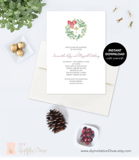 Downloadable Christmas Baptism Invitation Template Pdf Etsy