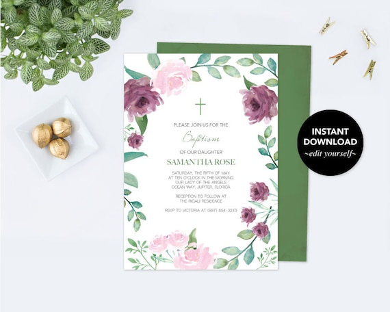 girls baptism invitation floral baptism invitation girl etsy