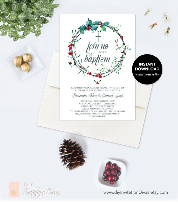 downloadable christmas baptism invitation template pdf editable