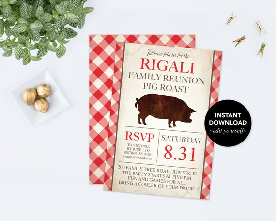 downloadable printable family reunion invitation pdf template pig