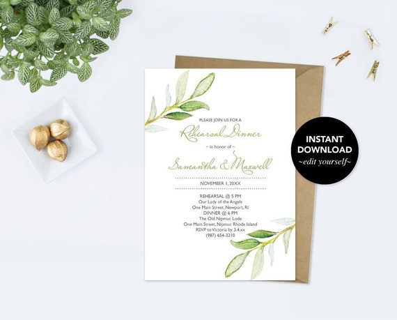 Rehearsal Dinner Invitation Dinner Party Invite Template Pdf Watercolor Greenery Green Leaves Instant Download Wedding Rehearsal Invite By Vg Invites Catch My Party